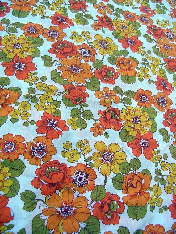 Retro Floral Duvet Cover and Pillowcase, Vintage Linens, 100% Cotton, Vintage 1960s 70s Floral Fabric