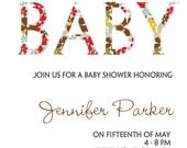 Printable modern unique unisex Baby shower invitation