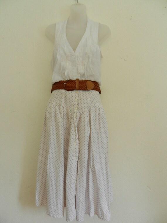 Vintage Floral Prairie Skirt- Maxi Skirt- Womens Long White Skirt- Boho Hippie Skirt
