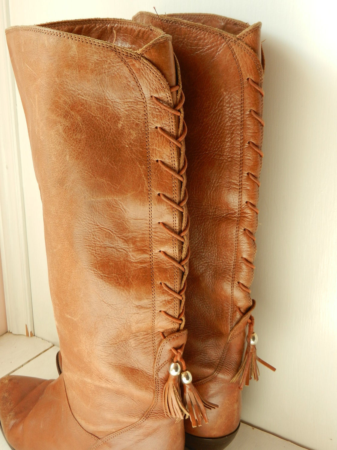 vintage brown leather boots lace up back southwestern cowboy