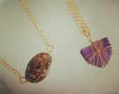 wire wrapped stone or geode necklace silver or gold tone