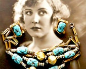 Lampwork Bead Necklace Earring Set Demi Parure Glass and Gold Toned Metal