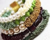 Exceptional handmade beaded ribbon bracelet. Ruffled ribbon, pearls and beads bracelet in brown, cream and green. Ribbon jewelry.