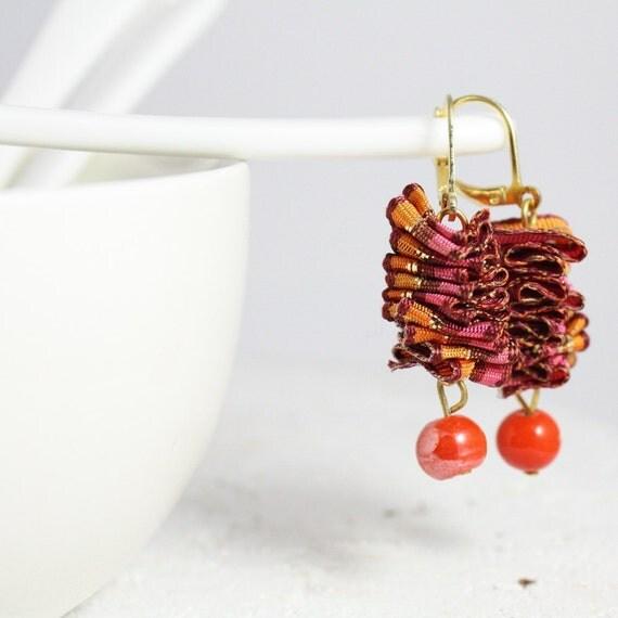 Cute Pink and Orange Dangling Earrings - Ruffled Satin Ribbon - One of a Kind - OOAK