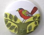 Pocket Mirror - Upcycled Children's Book Bird Illustration
