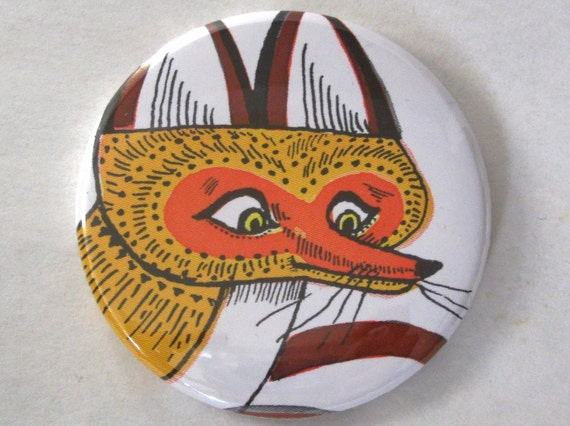 Pocket Mirror - Vintage Children's Book Fox Illustration