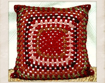 Coussin bohème en Laine et coton bio,Granny square cushion cover, Boho, Vintage home/Bohemian Crochet Organic Wool Cushion cover