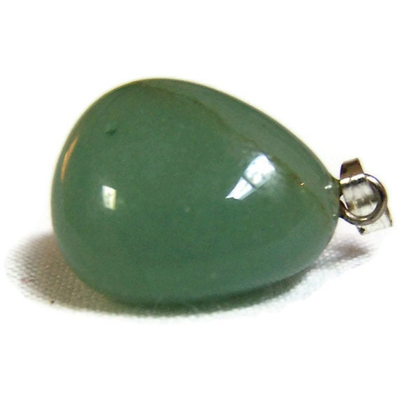 Semi Precious Pendant Green Aventurine  Silver Bail  Small Stone Necklace Jewelry Supplies