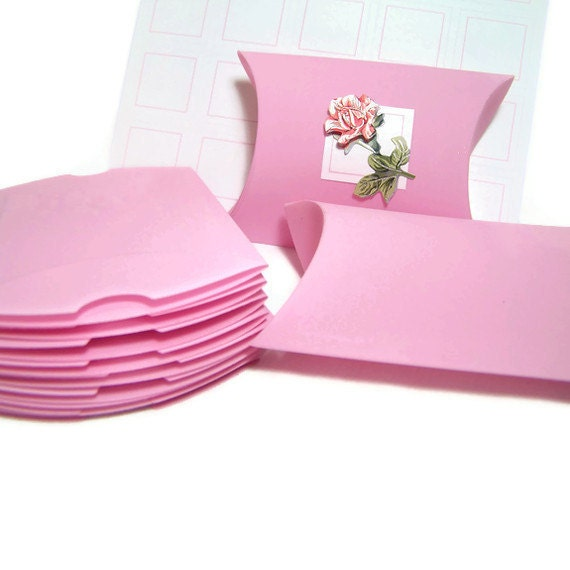SALE Small Gift Boxes Jewelry or Favor Pillow Box in Powder Pink Buy 10 Get 5 FREE