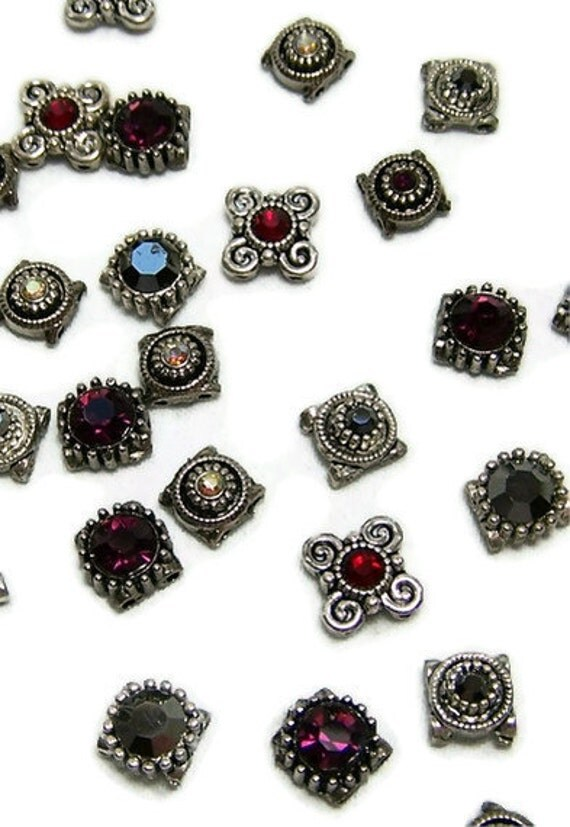 Crystal Spacers Mixed Lot Antiqued Silver