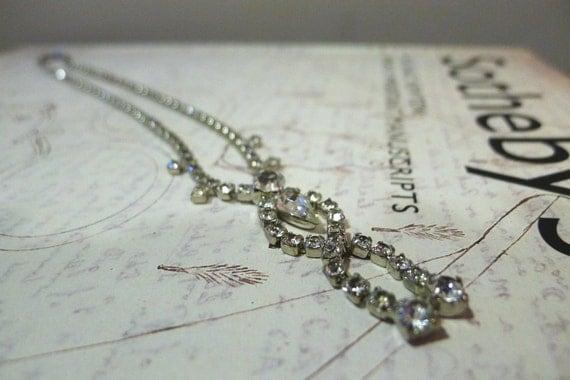 Vintage 1940s Rhinestone Drop Necklace Choker