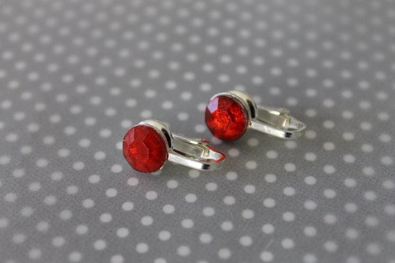 sparkly red bling clip-on earrings