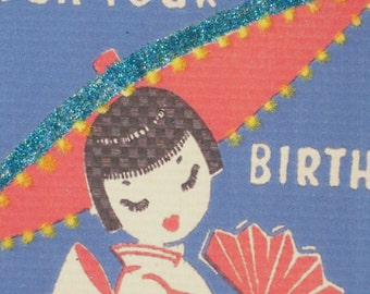 Birthday Card with vintage image