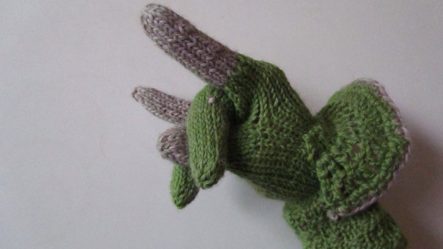 PATTERN: Triceratops Dinosaur Gloves Knit and Crochet