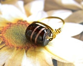 Ale Barrel Wire Wrapped Bead Ring - Size 7.5 - READY to SHIP