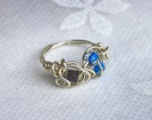 Boxed Blues- Wire Wrapped Ring  - Size 8 - READY to SHIP