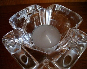 Crystal candle holder by Orrefors of Sweden