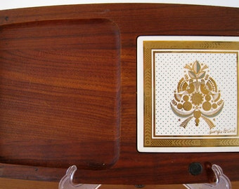 Georges Briard teak cheese tray with hand painted tile