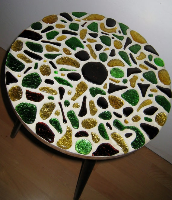 Reserved for Lynda Mid Century Modern acrylic tile mosaic side table
