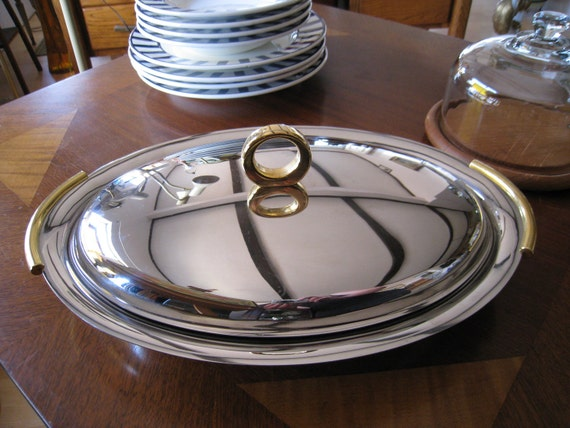 Mid century modern stainless steel Italy covered server