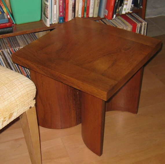 mid century danish modern table bent wood Mad men era US made by Kroehler