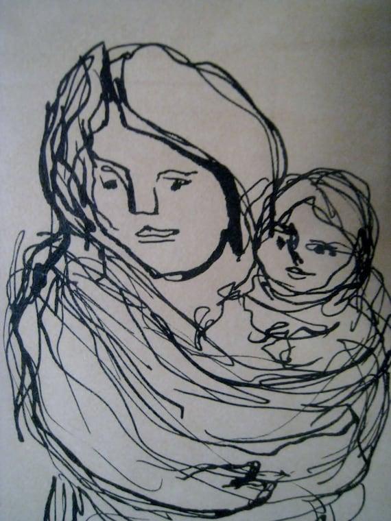 Vintage original sketch in ink Woman and Child signed framed