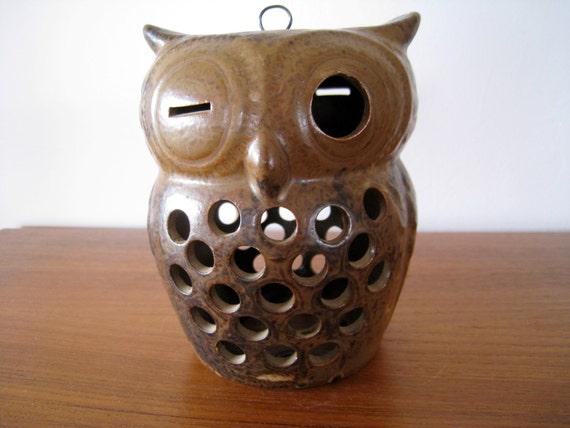 Mid century modern ceramic owl pottery lantern