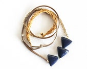CROCHET TRIANGLES & CHAIN / mixed-media fiber necklace w/ blue porcelain triangles, gold crochet detail, silky taupe cord and chain