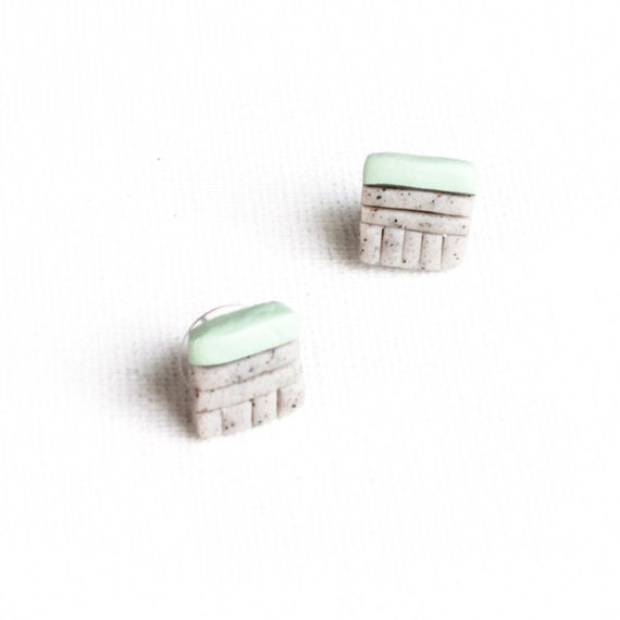 Mint Green Tribal Studs / sculpted square grey polymer stud earrings / matte mint green stripe, primitive geometric design