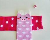 Baby Girl LegWarmer &  Baby Snap Clip Bundle, Pink Baby Leg Warmers, Ladybug Hair Clip