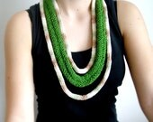 FREE SHIPPING   India Green necklace,neckwarmer,necktie, lariat, crochet, knitting.....