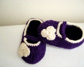 Baby girl, booties,shoes,purple crochet baby shoes, 3-6 mounth