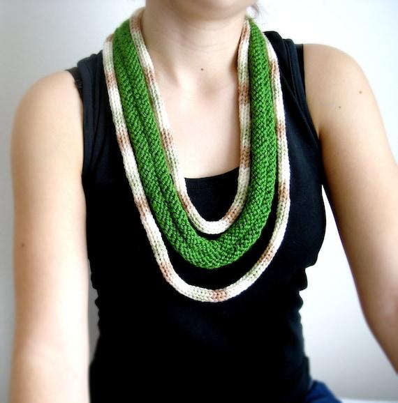 FREE SHIPPING   India Green necklace,neckwarmer,necktie, lariat, crochet, knitting.....