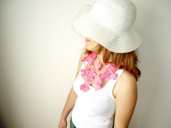 Sugar pink crochet lariat, neckwarmer, necktie, scarf, necklace