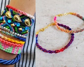 Braided Rainbow Friendship Bracelet with Gold Chain (NEW COLORS)