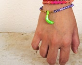Neon Green Banana Charm for Braided Rainbow Friendship Bracelets