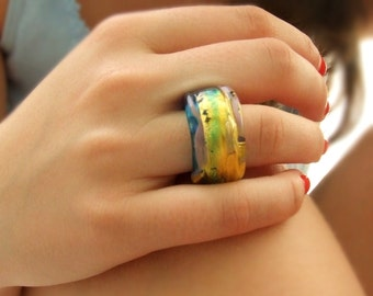 Handmade Lampwork Glass Ring With 23k Gold and Bright Turquoise, made of glass only