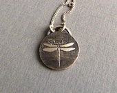 Silver Dragonfly Necklace - Dragonfly Pendant - Dragonfly Charm