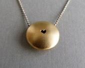 Gold Heart Necklace - Gold Heart Pendant - 24k Gold Plated