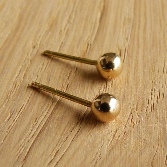 Tiny Gold Stud Earrings - Gold Post Earrings - 14k Gold