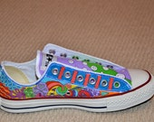 """Custom Converse, Personalized Doodles with """"Circles and Stripes"""""""