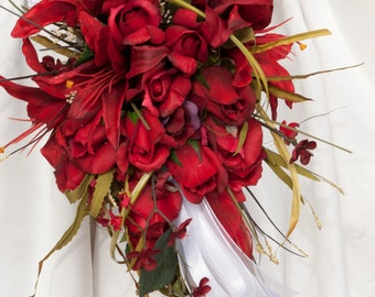 Bride Wedding Bouquet Flowers Cascade Red Roses Lily Bouquet only