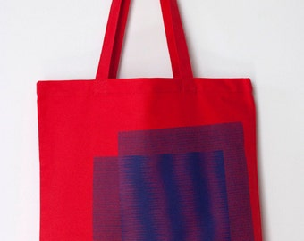 Moire Print Canvas Tote in Blue and Red - Geometric Tote