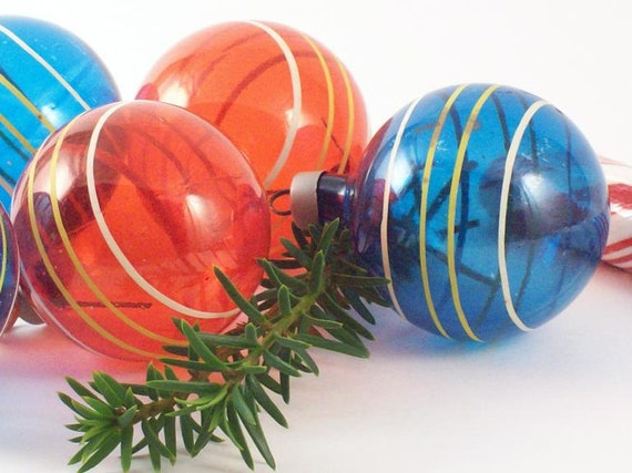 Blue & Red Shiny Bright Christmas Ornaments set of 12