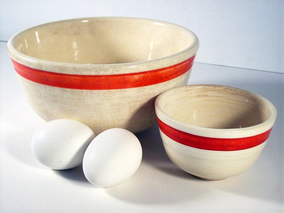 Vintage Red Striped Bowl, Bake Oven