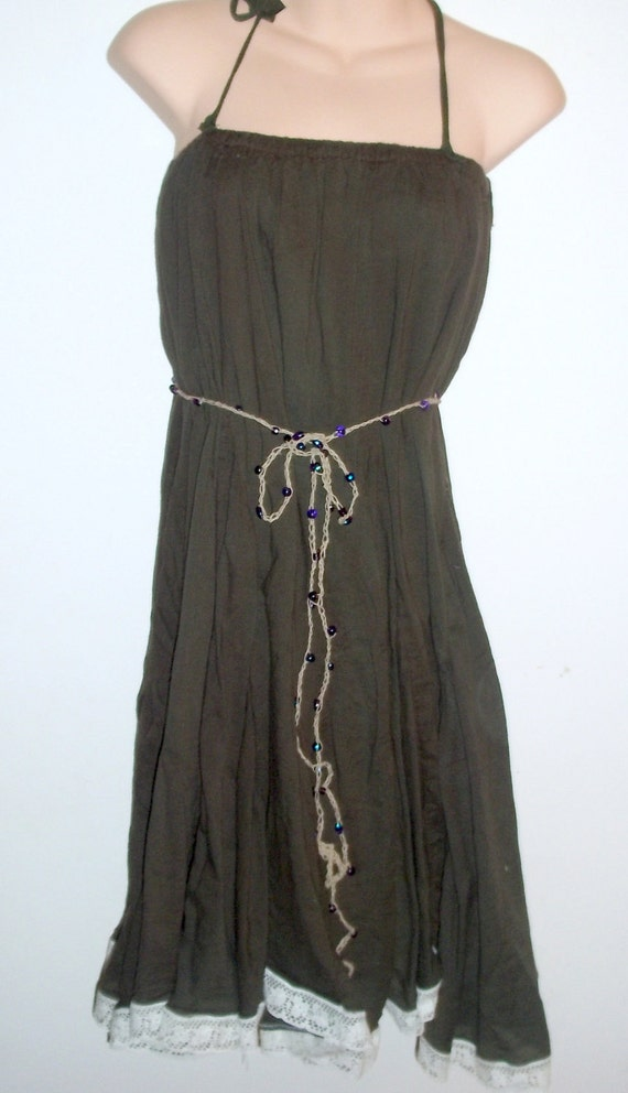 womens sundress in olive with full skirt
