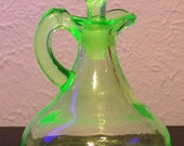 Vintage Vaseline Glass Cruet with Stopper