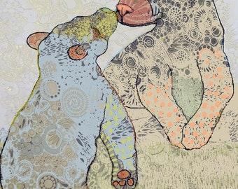 "Print of an Original Ink Drawing: ""Bear Kiss"""