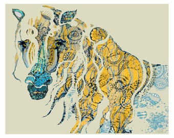 "LIMITED EDITION COLOR: Print of an Original Ink Drawing "" Abstract Horse"""