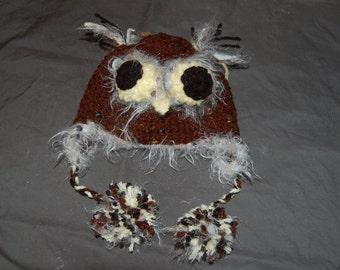 Owl Hat - Crochet Animal Hat - Earflap  Hat